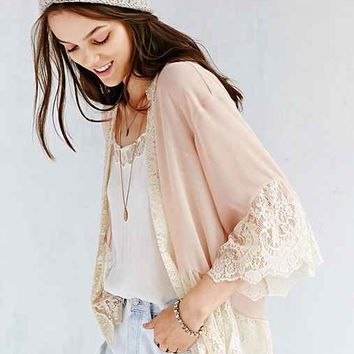 Pins And Needles Lace-Inset Chiffon Kimono Jacket- Neutral Multi