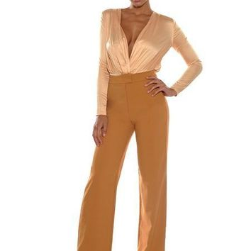 High Waist Wide Leg Honey Gold Stretch Crepe Pants