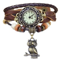Owl Boho Chic Vintage Hand Made Weave Wrap Bracelet Watch (Coffee):Amazon:Watches