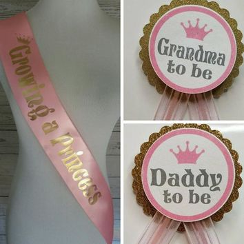 Growing a Princess Sash & Pins, Posh Pink Baby Shower Sash for mommy to be with rhinestone pin - daddy to be and grandma to be pins 3 pc set
