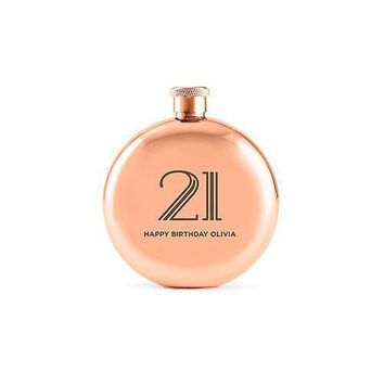 Polished Rose Gold Hip Flask - Vintage Glam Etching (Pack of 1)