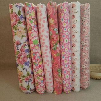 New Arrival 7Pcs/Set Quilting Fabric Floral Cotton Cloth DIY Craft Sewing Handmade Accessory