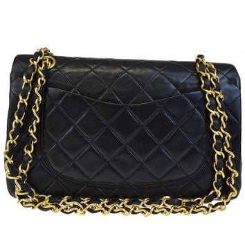 Auth CHANEL CC Matelasse Double Flap Chain Shoulder Bag Leather Black 300BC240