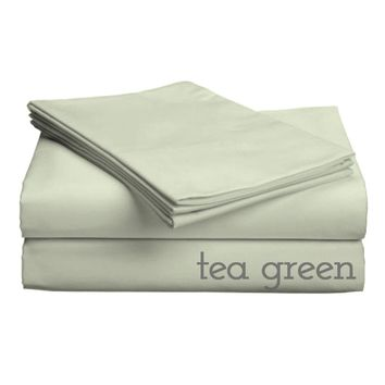 "Classic Collection-300ct Combed Cotton Percale Weave Deep Pocket Upto 18"" Pocket Sheet Sets Cal King Tea Green"