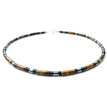 Mens Chakra Necklace Tigers Eye Crystal Healing Stones Energy Balancing Jewelry DEPENDABLE & TRUSTWORTHY MN10