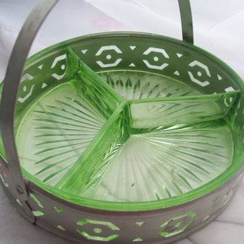 Vintage Green Depression Glass 3 Section Condiment Tray Holder Metal Caddy