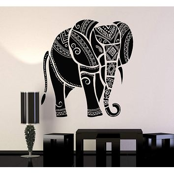 Vinyl Wall Decal Elephant Animal Tribal Ornament Art Stickers Mural Unique Gift (ig3467)