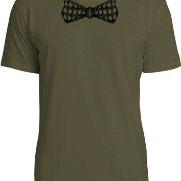 Chequered Bow Tie (Black) Mens Fine Jersey T-Shirt
