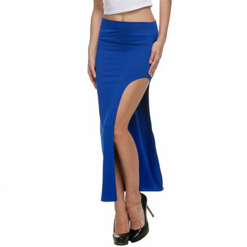 Sexy Summer Long Maxi Midi Bandage High Waist Women Sun Skirts Elastic  Bodycon Beach Black White Red Gray Blue Wrap Slit 2016