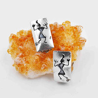Vintage Sterling Silver Petroglyph Clip Earrings, Figural, Cave Drawings, Engraved, Rectangular, Oxidized, Patent No., Cool! #b889