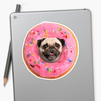 'Pug Strawberry Donut' Pegatina by Lostanaw