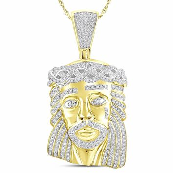 14kt Yellow Gold Mens Round Diamond Jesus Christ Messiah Charm Pendant 2.00 Cttw