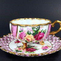 Demitasse 3 Footed Tea Cup, Japanese Pearlized Teacup and Reticulated Saucer J-1663