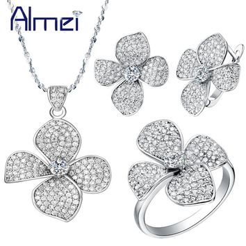 Almei 50% Offf Silver Crystal Flower Necklace/Earrings/Ring Jewelry Sets for Woman Costume Bijoux Femme Wedding Bridal T001