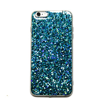 Peacock Green Glitter iPhone Case