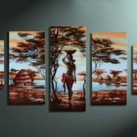 Unixtyle Art 100% Hand-painted Wood Framed Wall Art African Tribe House Beauty Home Decoration Abstract Landscape Oil Painting on Canvas 5pcs/set