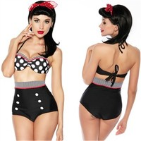 Pinup Swimsuits - High Waist Nautical Sailor Girl Bikini Swimsuit with Polka Dotted Push-up Bikini Top