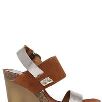 Mia Heritage Foxy Pewter Suede Leather Wedges