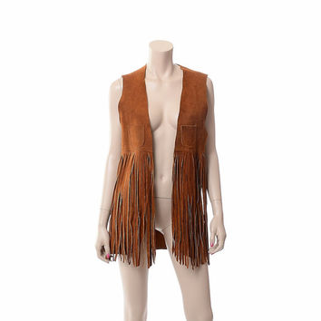Vintage 60s Suede Fringe Hippie Vest 1960s Woodstock Chestnut Brown Leather Rocker Gypsy Festival Vest Rockabilly Jacket / Unisex