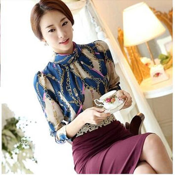 HOWL LOFTY Women Blouses 2017 New Spring Korean Style Fashion Flower Pring Long Sleeve Lace Blouse Ladies EleganTshirts S-XL