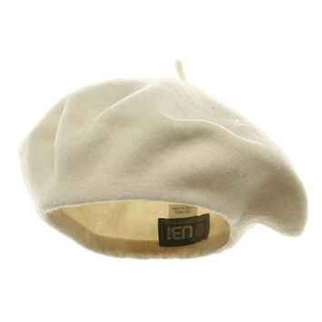 100% Wool Beret French Artist Hat CREAMY WHITE