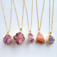 FREE UK SHIPPING - Pink Druzy Crystal Pendant - Raw Crystal Necklace - Gold Electroplate - Natural Raw Rough Stone