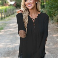 Cross-Woven Black Casual Bottom Shirt