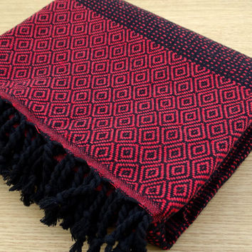 Red and black colour Turkish diamond patterned soft cotton bath towel, beach towel, baby's blanket, throw blanket.