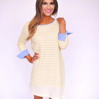 Yellow Striped Tunic Dress