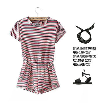 Summer Stylish Casual Simple Design Stripes Short Sleeve High Rise Cotton Romper [6033569089]