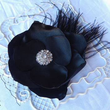 Black Magnolia Satin Flower Hair Clip Black Ostrich Feathers French Net Santeen Creations Wedding Bridesmaid Flower Evening Formal Wear
