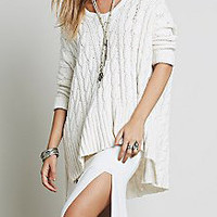 White V-Neck Dip Hem Cable Knit Sweater