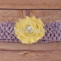 Crochet Headband with Shabby Chic Flower and Heart Rhinestone for Baby, Newborn Headband, Baby Headband, Infant Headband, Child Headband