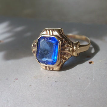 Art Deco Ladies Blue Stone Ring 10k sapphire cobalt yellow gold Ostby Barton