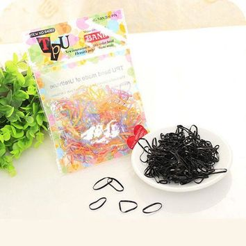 Black Multicolor Rubber Band Disposable Simple Hair Band For Women Headwear Hair Accessories