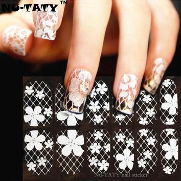 Nu-TATY  White Lace Art Nail Sticker 16 Model 12pcs/set Decals Summer style makeup gel polish beauty tools french manicure