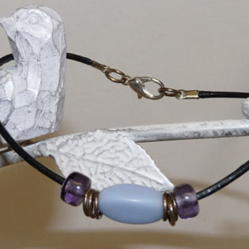 Bracelet, Beach, Surfer, Leather Thong, Czech Glass Beads, Silver Plated Clasp, Hand Crafted, Ooak