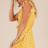 Laugh It Off dress in yellow polkadot Produced By SHOWPO