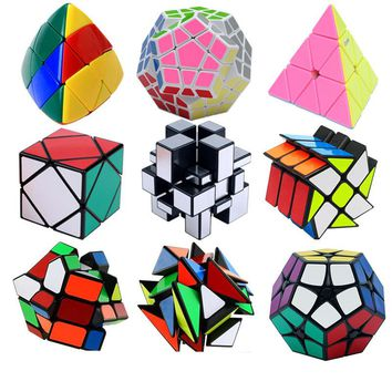 Strange Shape PVC Sticker Magic Cube Educational Puzzles Learning Toys Skewb Megaminx Fisher Puzzle Cube Magico Cubo