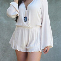 White Long Flare Sleeve V-Neck Chiffon Romper