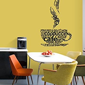 Wall Decal Vinyl Sticker Decals Art Decor Design Signs Qoute Words Letters Coffee Tea Cap Drinks Kitchen Family Good Day Smile (r690)