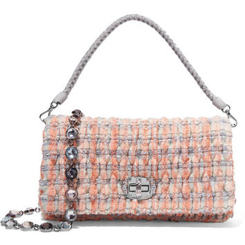 Miu Miu - Embellished bouclé-tweed shoulder bag