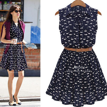 Print Overall Chiffon Doll Collar Mini Dress With Belt