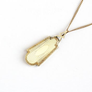 Vintage 12k Yellow Gold Filled Art Deco Locket Necklace - 1930s Large Shield Shaped Etched Pendant Charm Fob Jewelry