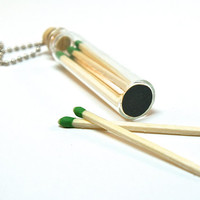 Bottle Necklace with Matches- Mini Glass Bottle with Wooden Match Sticks
