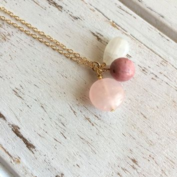 Love & Fertility ~ Moonstone, Rhodonite and Rose Quartz Gold Filled Necklace