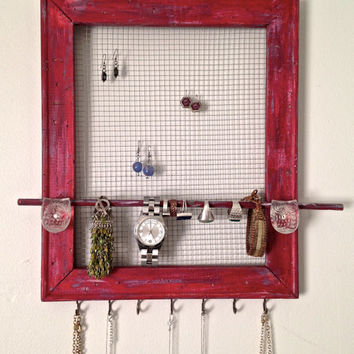 Owl Red Jewelry Wall Organizer-Upcycled Wood Frame-Paint Distressed-Two Glass Knobs