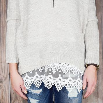 White Pointed Lace Top Extender