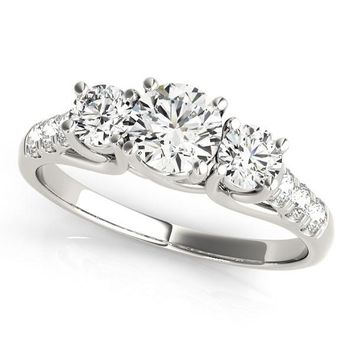 14K White Gold Trellis Set 3 Stone Round Diamond Engagement Ring (1 1/8 ct. tw.)