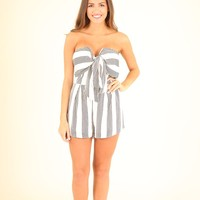 SECRET COVE ROMPER - BLACK AND IVORY